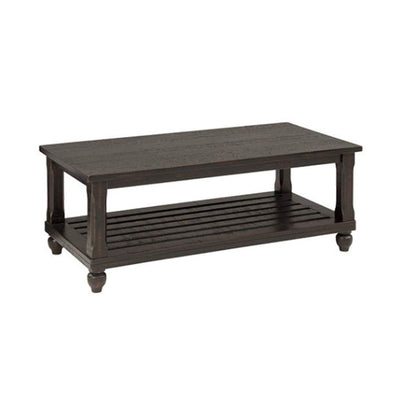 Plank Style Wooden Table Set with Slatted Lower Shelf and Bun Feet Set of Three Black - T145-13 AYF-T145-13