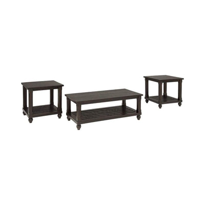 Plank Style Wooden Table Set with Slatted Lower Shelf and Bun Feet, Set of Three, Black - T145-13 By Casagear Home