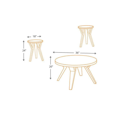 Retro Style Round Wooden Table Set with Angular Leg Support Set of Three Brown and Black - T267-13 AYF-T267-13