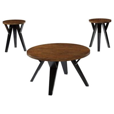 Retro Style Round Wooden Table Set with Angular Leg Support, Set of Three, Brown and Black - T267-13 By Casagear Home