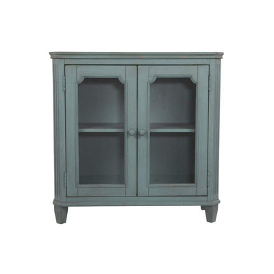 Distressed Wooden Accent Cabinet with Glass Front Doors Storage, Vintage Blue By Casagear Home