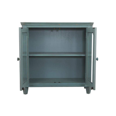 Distressed Wooden Accent Cabinet with Glass Front Doors Storage Vintage Blue AYF-T505-742