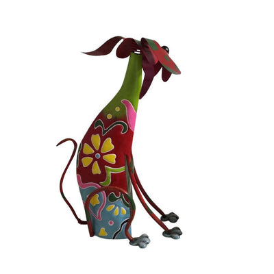 17 Inch Decorative Metal Dog Sculpture Multicolor By Benzara BM04287