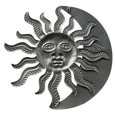 Celestial Sun and Moon Metal Hanging Wall Art Decor Gold and Rust Brown By Casagear Home BM05394