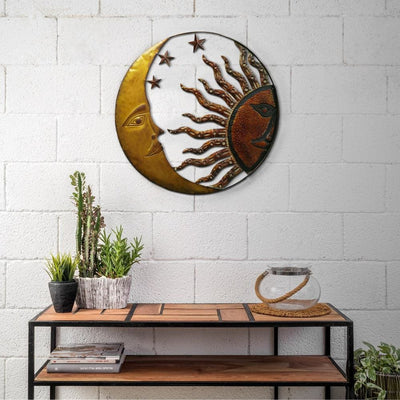 Celestial Metal Sun Star Moon Wall Hanging Decor, Bronze Gold and Rust Red