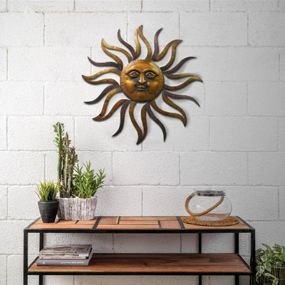 35 Inch Round Hanging Metal Sun Wall Art Decor with Facial Details, Bronze By Casagear Home