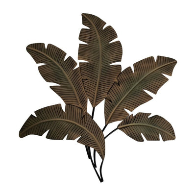 Palm Leaf Hanging Metal Wall Art Decor Green and Brown By Benzara BM07982