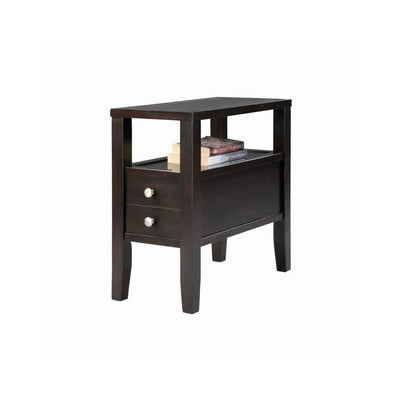 24 1-Drawer Wooden End Table with Upper Shelf in Dark Brown by Casagear Home BM101052