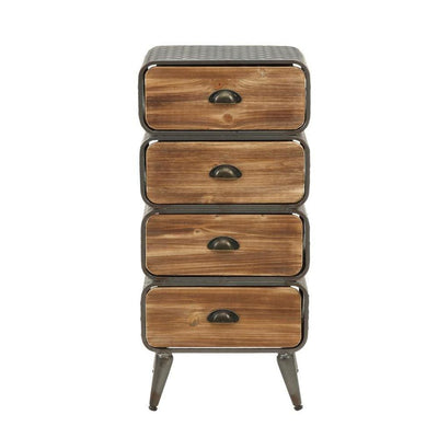 Stacked Design 4 Drawer Metal Frame Accent Storage Chest with Splayed Legs Gray and Brown By Casagear Home BM132794