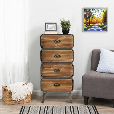 Stacked Design 4 Drawer Metal Frame Accent Storage Chest with Splayed Legs, Gray and Brown By Casagear Home