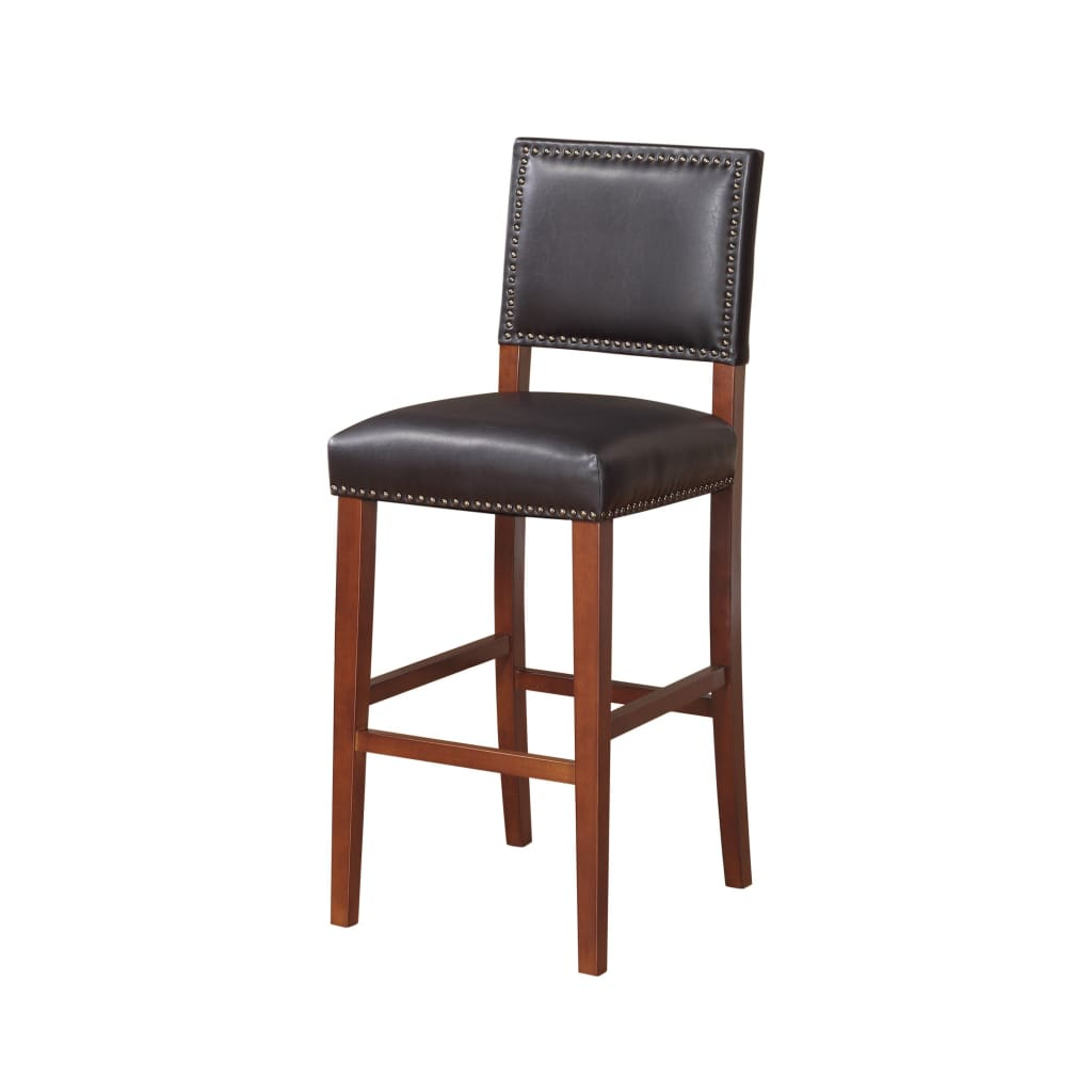 Nailhead Leatherette Bar Stool with Rectangular Backrest, Black and Brown By Linon Home Decor
