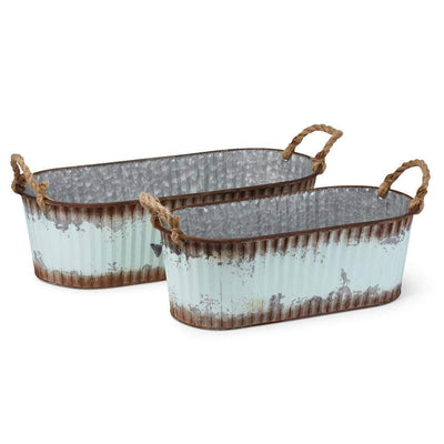 Homespun Accent Galvanized Sheet Oval Planters, Multicolor (Set of 2) - BM169174