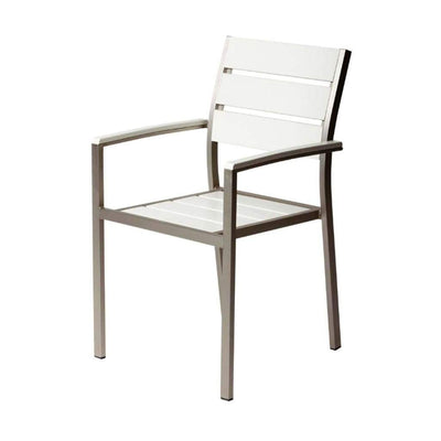 Modern Style Metal Chairs With Slated Back Set of 6 Gray and White BM172094