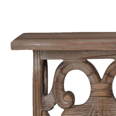 23.5 Inches Wooden Wall Shelf with Scrollwork Small Brown By Casagear Home BM180977