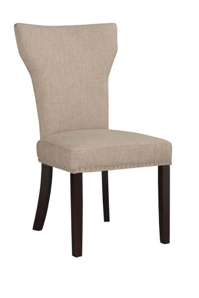 Fabric Upholstered Side Chair with Wingback Design Set of 2 Oatmeal Brown - BM183454 By Casagear Home BM183454