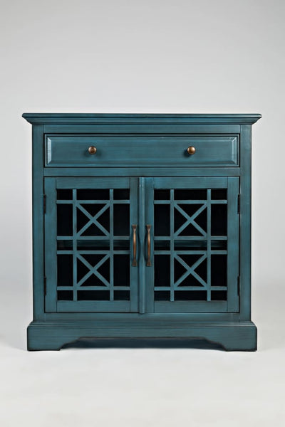 Craftsman Series 32 Inch Wooden Accent Cabinet with Fretwork Glass Front, Blue By Benzara