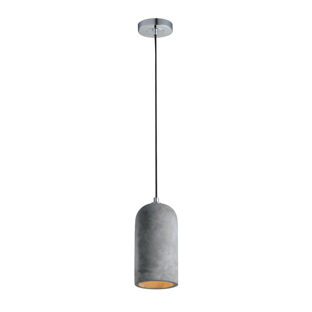 Robust Pendant Light with Unique Sturdy Concrete Shade, Gray and Silver - BM191645