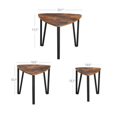 Wooden Triangular Nesting Tables with Iron Angled Legs Brown and Black Set of Three - BM195810 BM195810