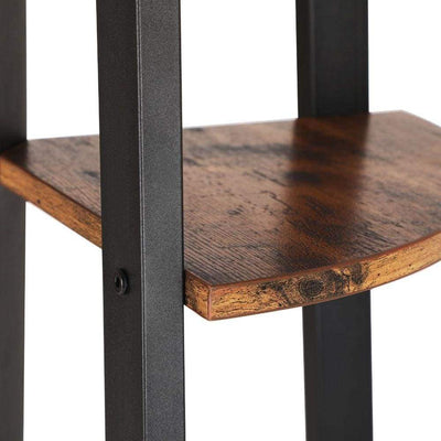 Four Tier Ladder Style Wooden Corner Shelf with Iron Framework Brown and Black - BM195830 BM195830