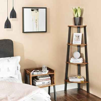 Four Tier Ladder Style Wooden Corner Shelf with Iron Framework Brown and Black - BM195830 By Casagear Home BM195830