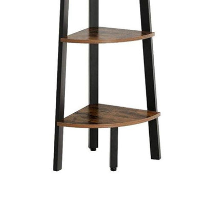 Five Tier Ladder Style Wooden Corner Shelf with Iron Framework Brown and Black - BM195835 By Casagear Home BM195835