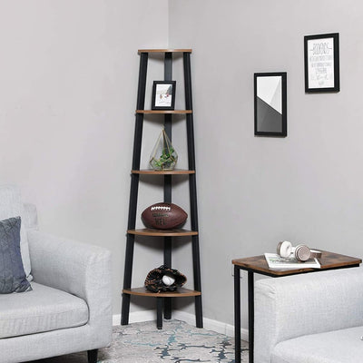 Five Tier Ladder Style Wooden Corner Shelf with Iron Framework, Brown and Black - BM195835 By Casagear Home