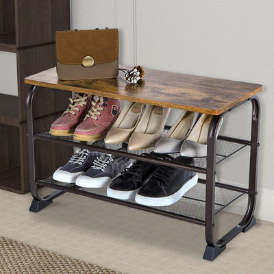 "18"" Industrial 3-Tier Shoe Rack with Wood Top, Black & Brown By Casagear Home"