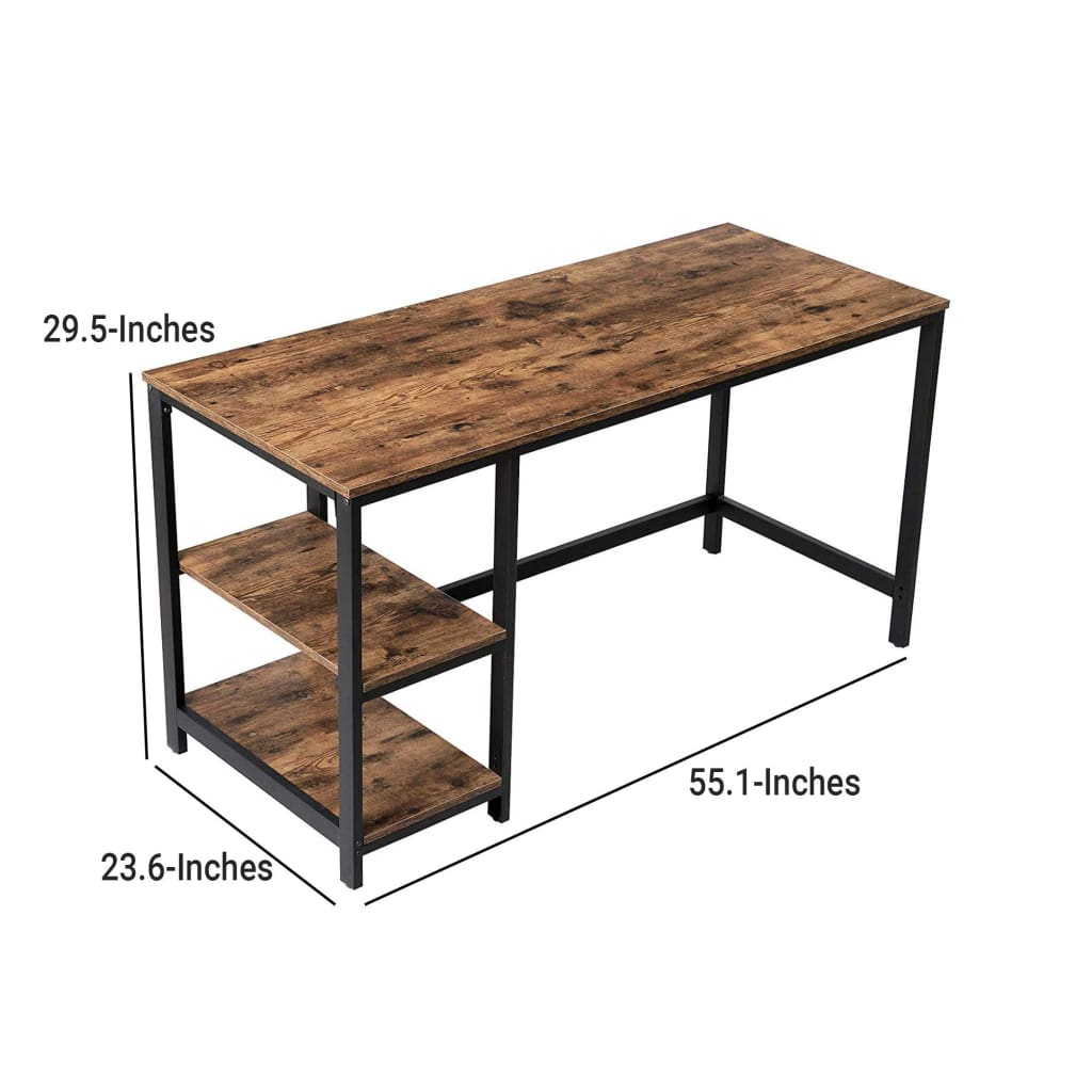 Industrial 55 Inch Wood and Metal Desk with 2 Shelves, Black and Brown