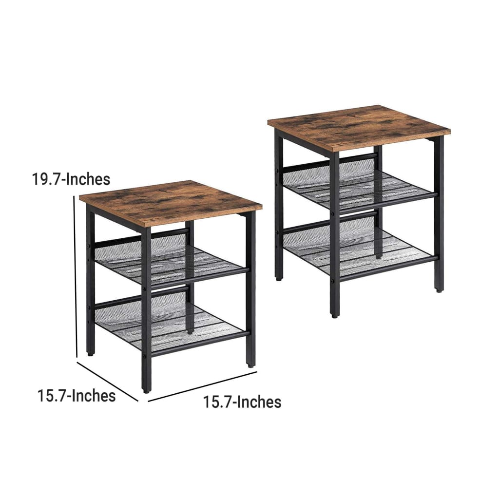 Wooden Side Table with Metal Mesh Shelves, Set of 2, Black and Brown