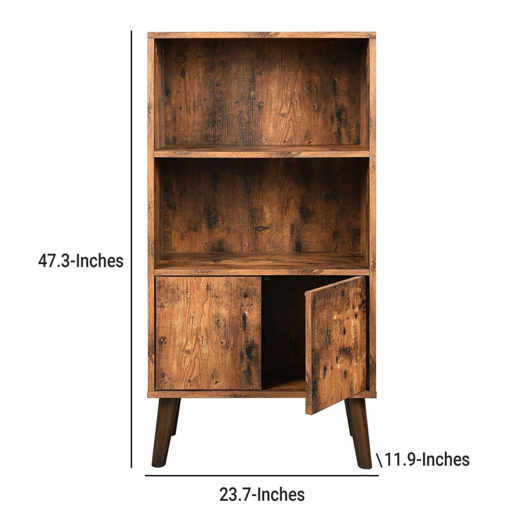 2 Tier Wooden Bookshelf with Storage Cabinet and Angled Legs, Brown