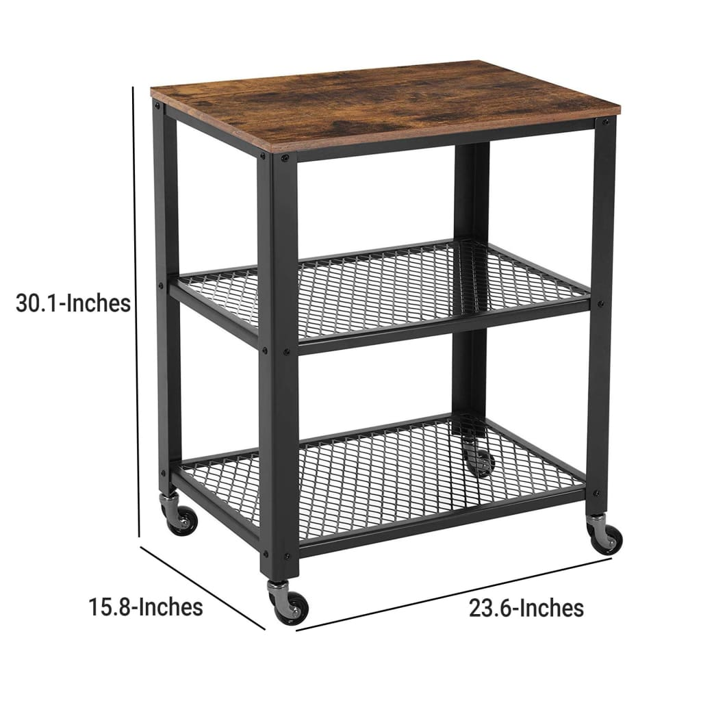3 Tier Wooden Serving Cart with 2 Mesh Design Shelves, Black and Brown
