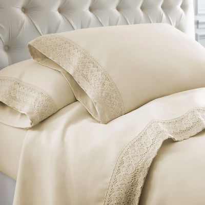 Udine 4 Piece King Size Microfiber Sheet Set with Crochet Lace By Casagear Home, Cream