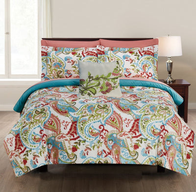 Caen 8 Piece Paisley Print California King Size Bed Set By Casagear Home, Multicolor