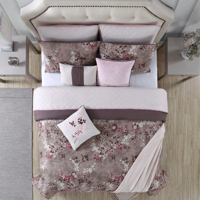 Andria 10 Piece Queen Size Comforter and Coverlet Set The Urban Port Brown and Pink BM202794