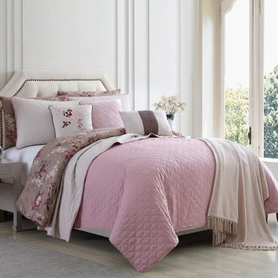 Andria 10 Piece Queen Size Comforter and Coverlet Set By Casagear Home, Brown and Pink