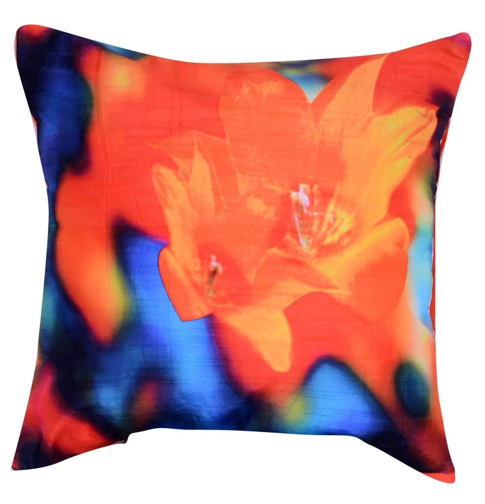20 X 20 Inch Accent Pillow with Hibiscus Digital Print, Set of 2,Orange and Blue - BM203550 By Casagear Home