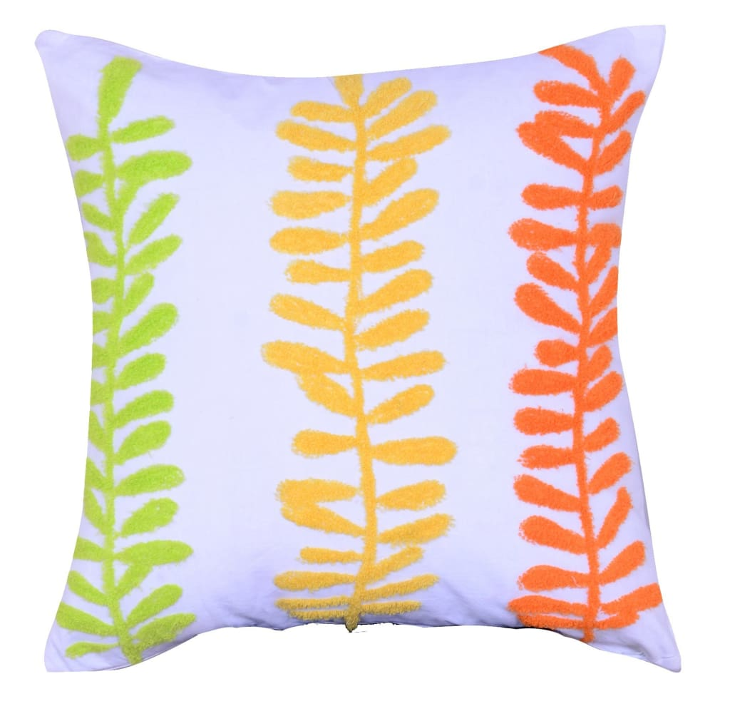 18 X 18 Inch Decorative Cotton Pillow with Sprig Pattern, Set of 2, Multicolor - BM203553 By Casagear Home