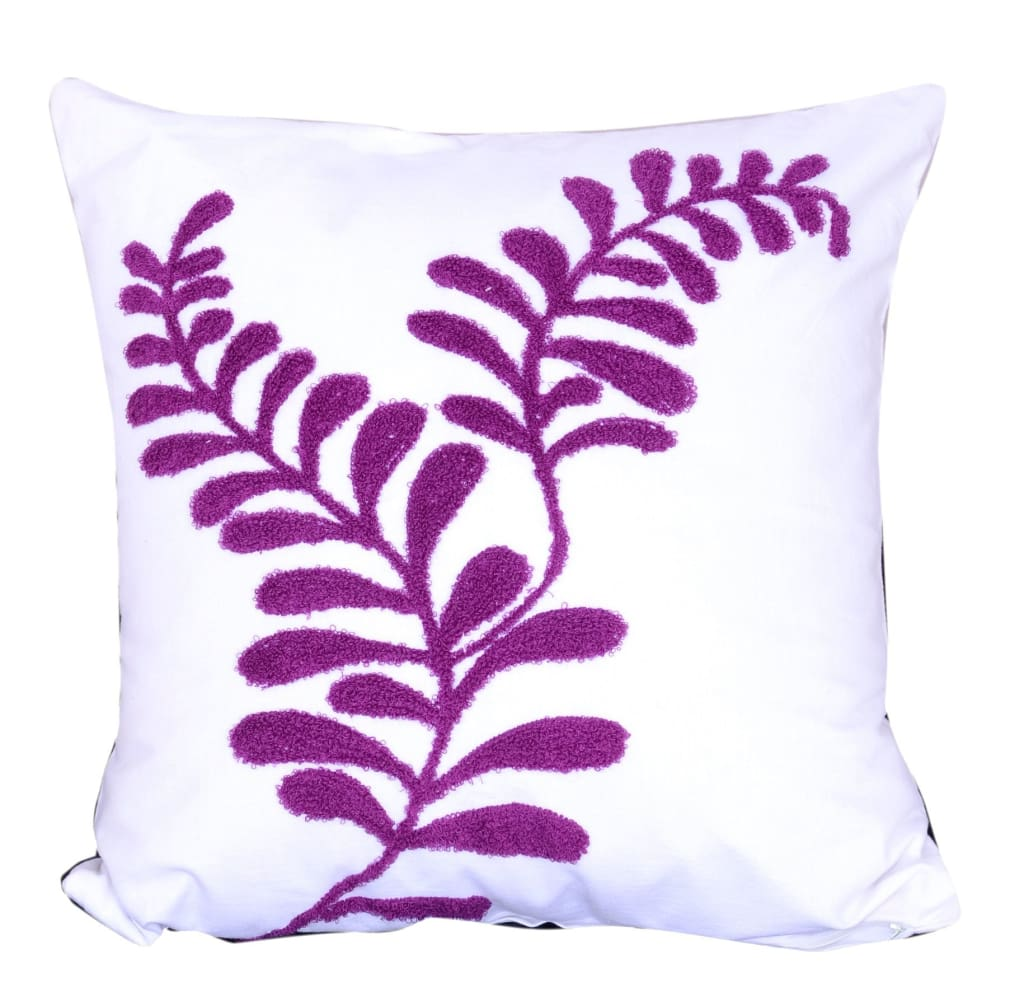 18 X 18 Inch Cotton Pillow with Sprig Pattern Embroidery, Set of 2, Purple - BM203554 By Casagear Home