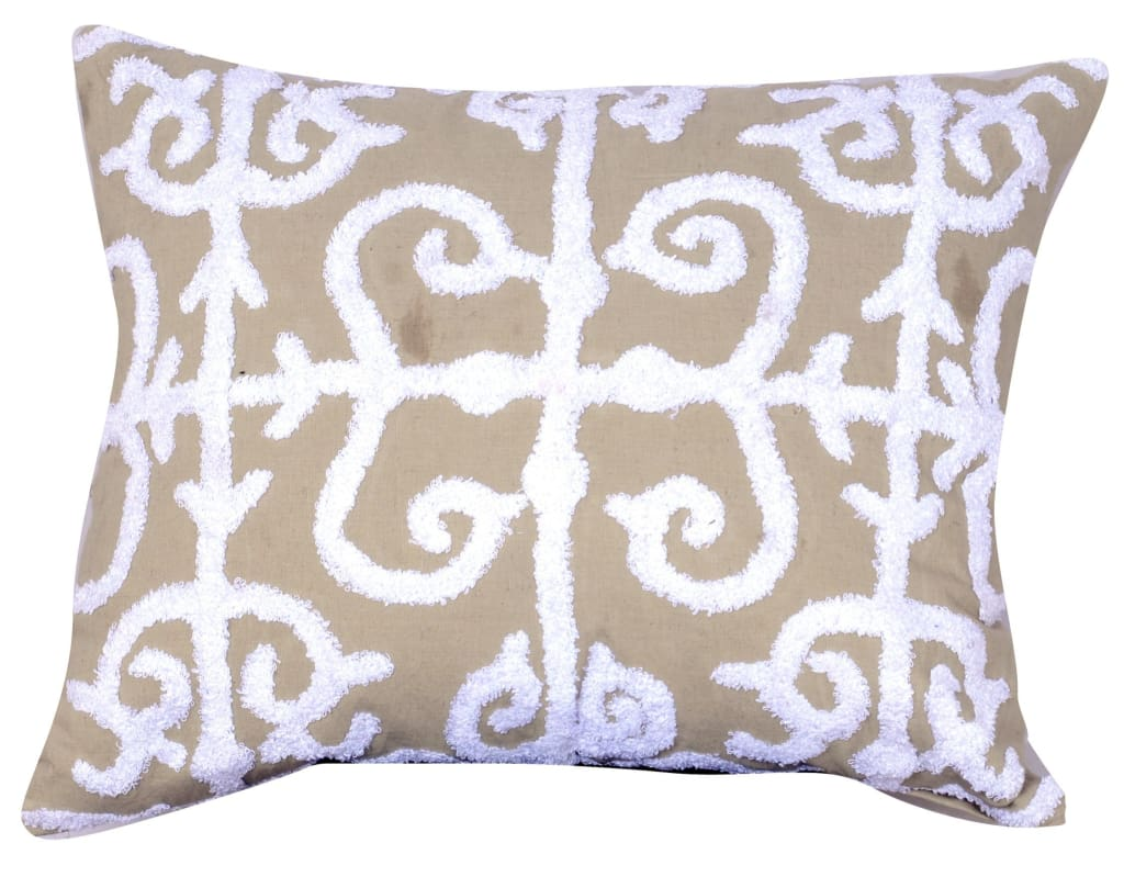 20 X 16 Inch Cotton Pillow with Vermicular Pattern, Set of 2, Brown and White - BM203557 By Casagear Home