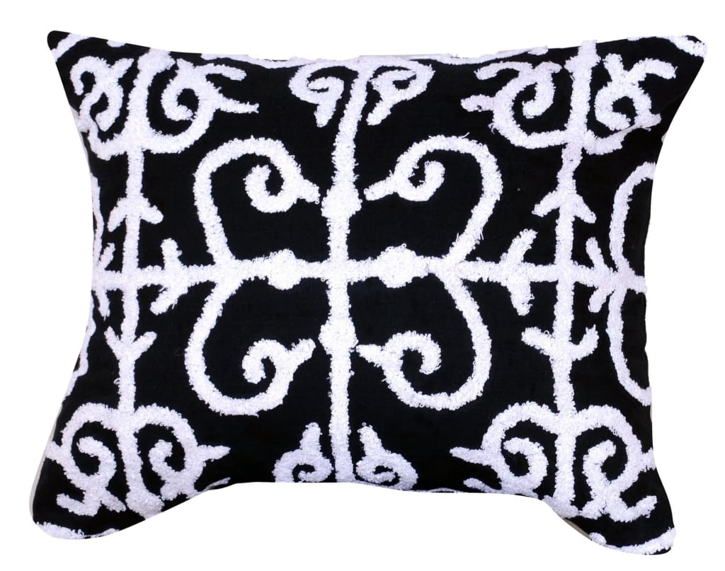 20 X 16 Inch Cotton Pillow with Vermicular Pattern, Set of 2, Black and White - BM203559 By Casagear Home