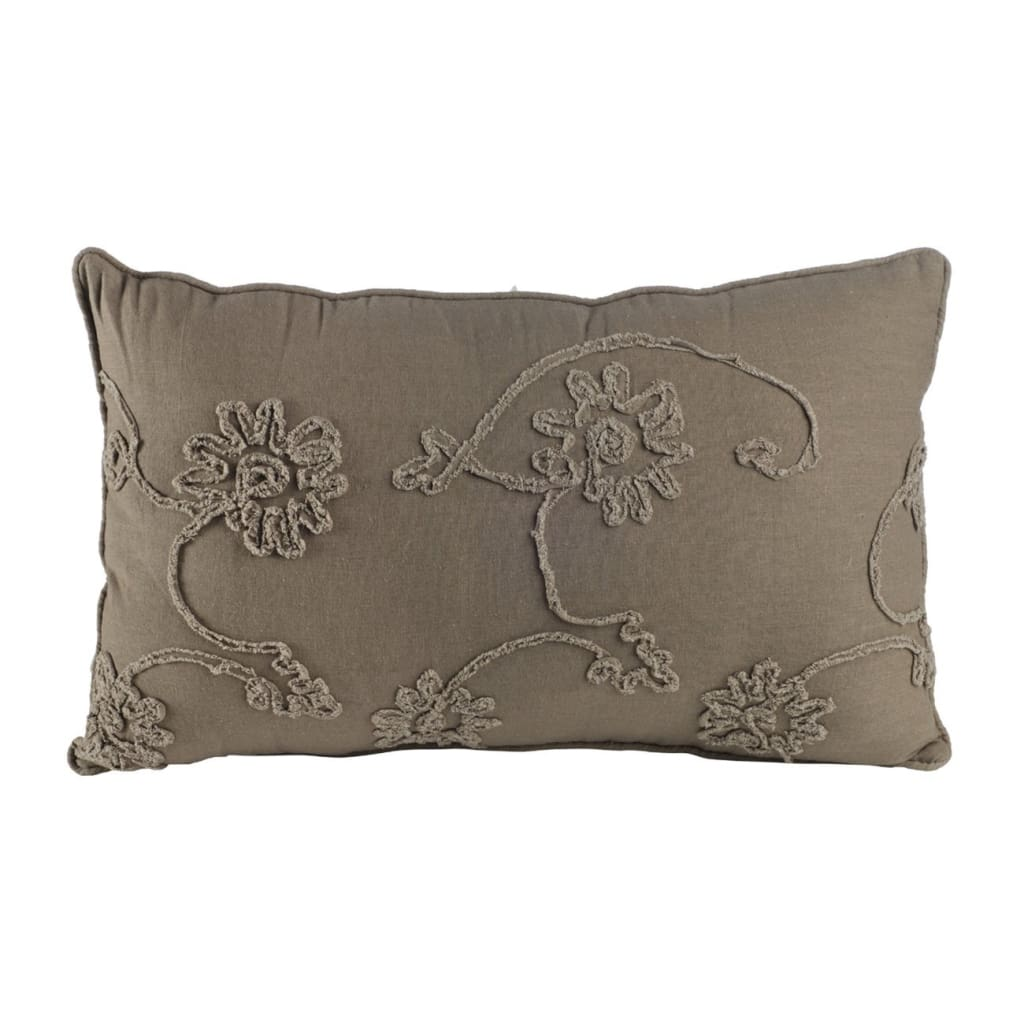 25 X 15.5 Inch Decorative Cotton Pillow with Floral Embroidery, Set of 2, Gray - BM203564 By Casagear Home