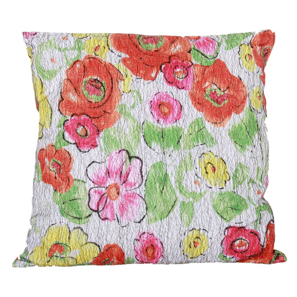 22 X 22 Inch Polyester Pillow with Crackled Floral Imprint, Set of 2, Multicolor - BM203566 By Casagear Home