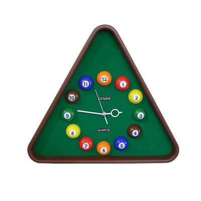 Pool Theme Triangular Shape Plastic Clock Multicolor by Casagear Home BM204214