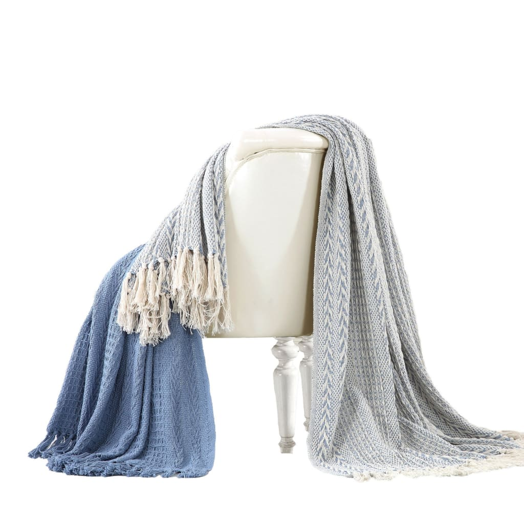 Latina Cotton Throw with Decorative Fringe The Urban Port, Set of 2, Blue