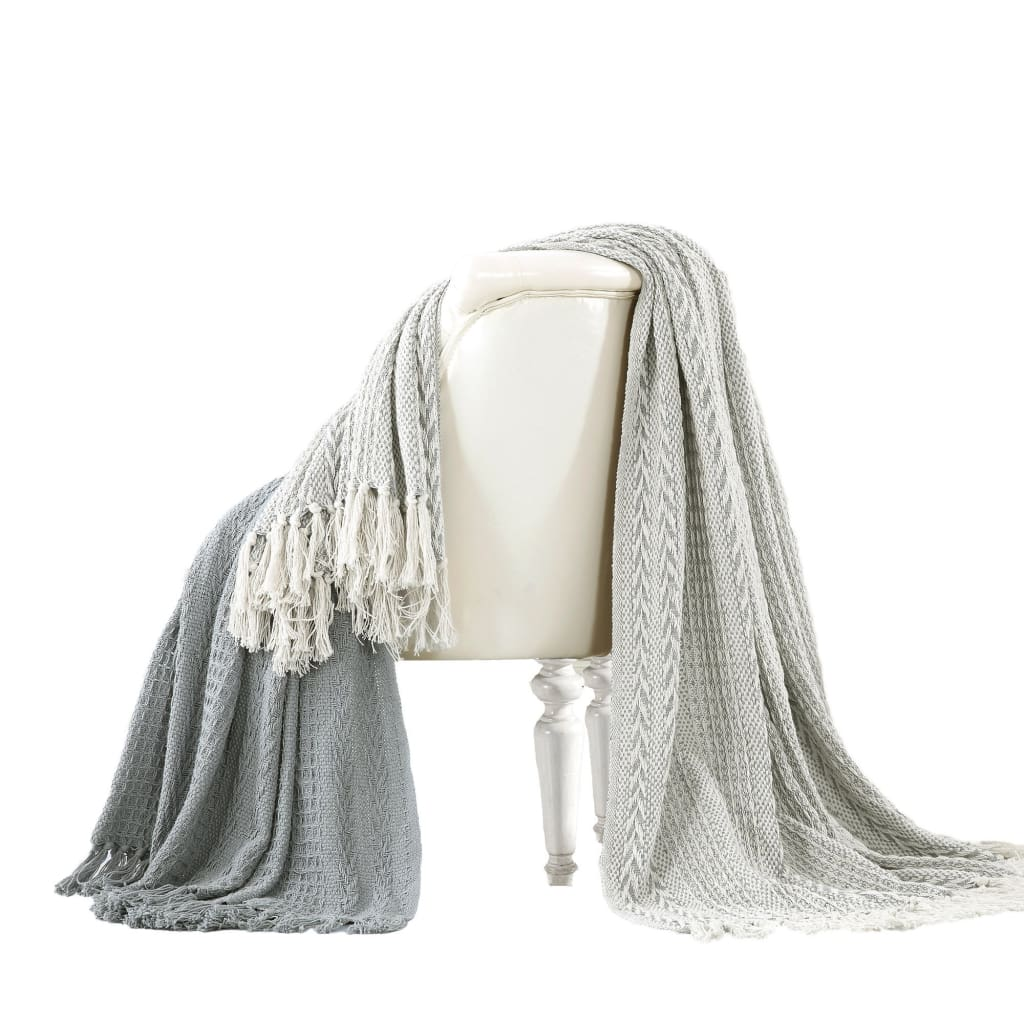 Latina Cotton Throw with Decorative Fringe The Urban Port, Set of 2, Gray
