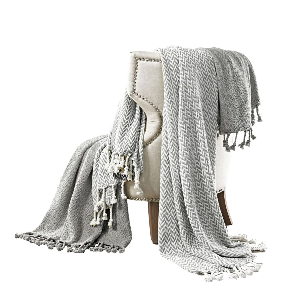 Calabria Herringbone Cotton Throw The Urban Port, Set of 2, Gray and White