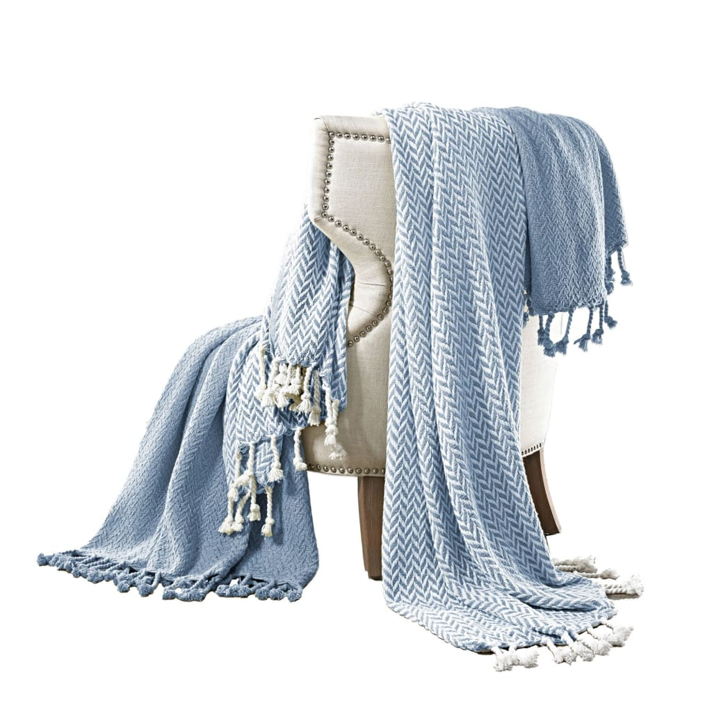 Montgeron Herringbone Throw The Urban Port, Set of 2, Blue and White