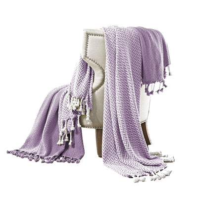 Montgeron Herringbone Cotton Throw , Set of 2, Purple and White By Casagear Home