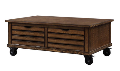 Wooden Coffee Table with Drop Down Storage and Caster Wheels, Brown - BM204474 By Casagear Home