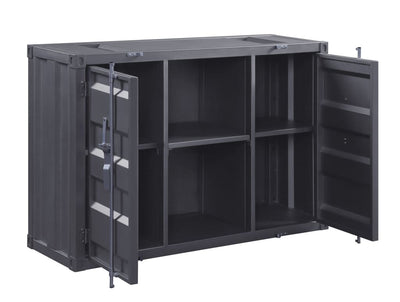 Industrial Metal Server with 2 Door Cabinet and 2 Open Shelves Gray - BM204491 By Casagear Home BM204491